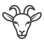 Goat head line icon, livestock concept, nanny-goat head sign on white background, Goat face icon in outline style for mobile concept and web design. Vector graphics
