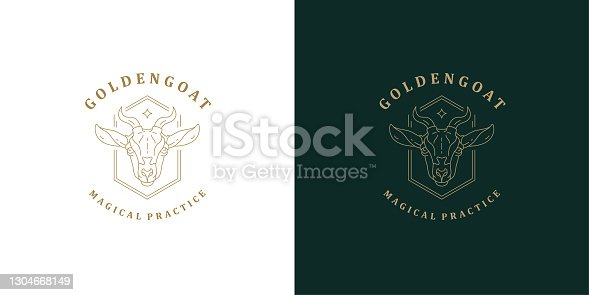 istock Goat head with horns symbol template linear vector illustration 1304668149