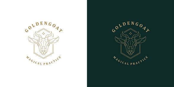 Goat head with horns symbol template linear vector illustration