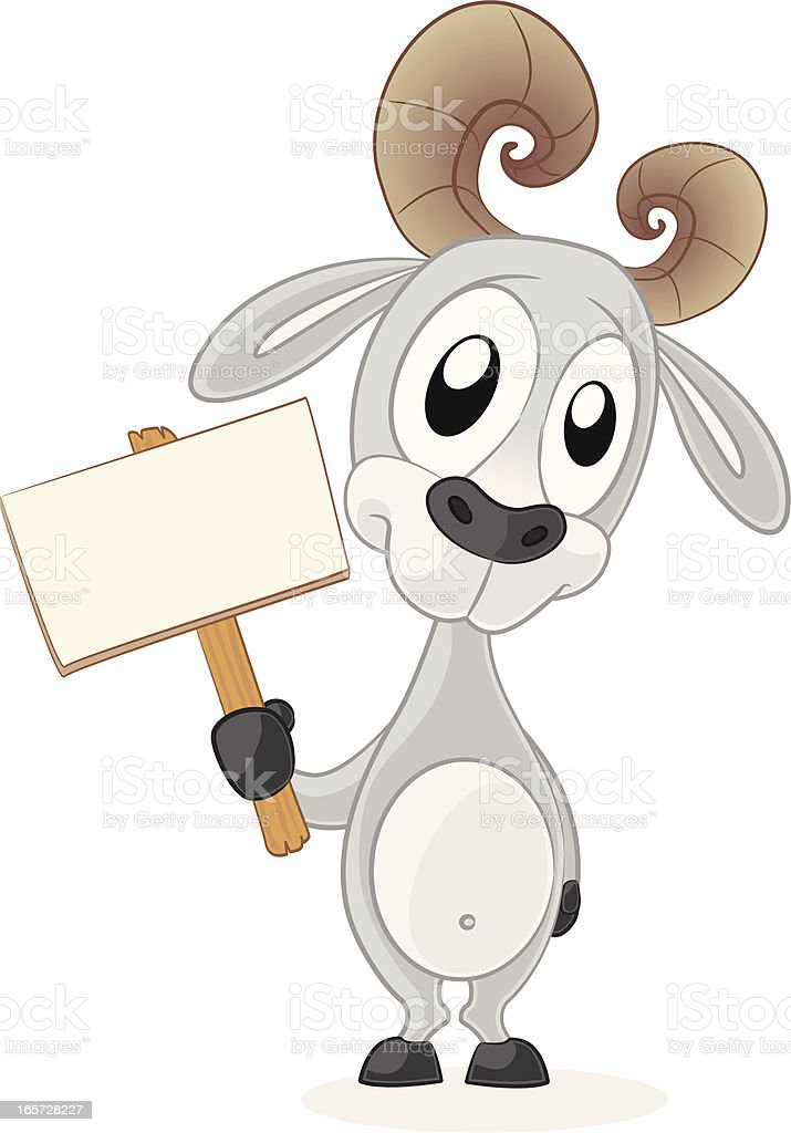 Goat holding a blank sign royalty-free stock vector art