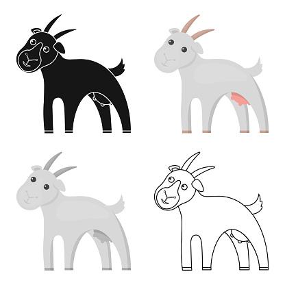 Goat icon cartoon. Single bio, eco, organic product icon from the big milk cartoon.