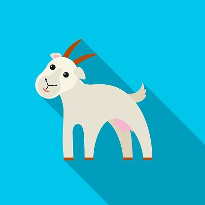 Goat icon flat. Single bio, eco, organic product icon from the big milk flat.