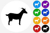 Goat Icon on Flat Color Circle Buttons