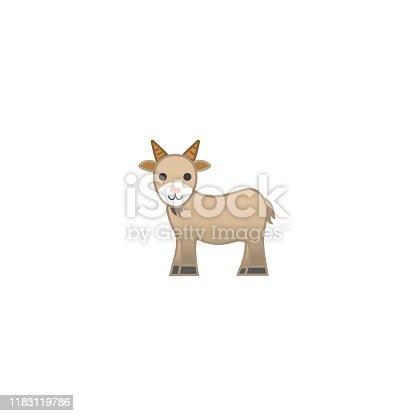 Goat Isolated Realistic Vector Icon. Goat Cartoon Illustration Emoji, Emoticon, Icon