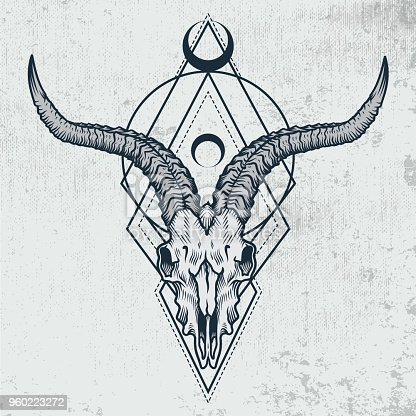 Vector illustration of goat skull with sacred geometry shapes on grunge background. Good for posters, t-shirt prints, tattoo design.