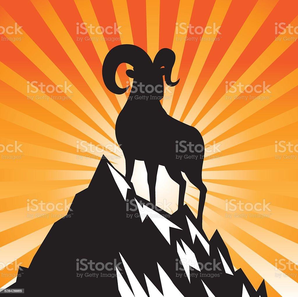 Koza stojąc na mountain burst 2015 r. chiński Nowy Rok – artystyczna grafika wektorowa
