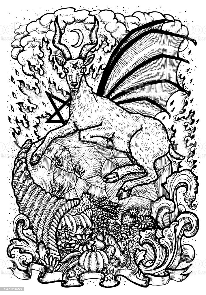 Goat Symbol With Horn Of Abundance Hell Fire And Diabolic Sign