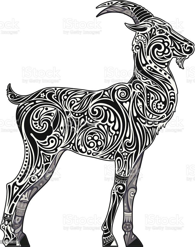 Goat (monochrome) vector art illustration
