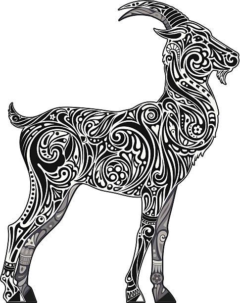 goat (einfarbig) - bergziegen stock-grafiken, -clipart, -cartoons und -symbole