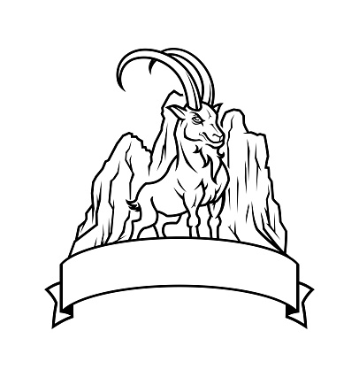 Goat with mountains on background - cut out outline emblem