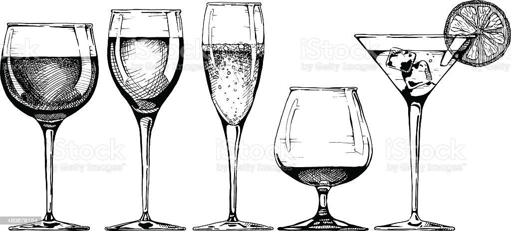 goblet set vector art illustration