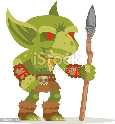 Goblin evil minion dungeon monster fantasy medieval action RPG character game layered animation ready character vector illustration