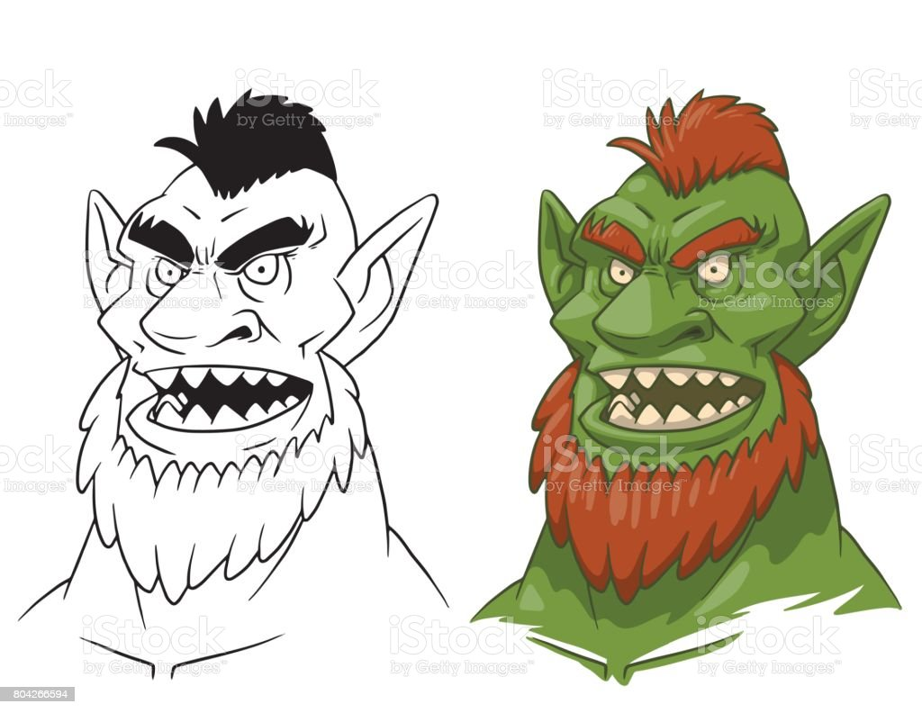 Goblin man's head, line and color image vector art illustration