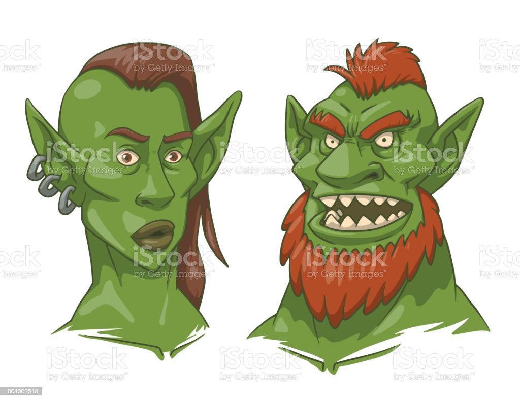 Goblin woman's and man's heads, color image vector art illustration
