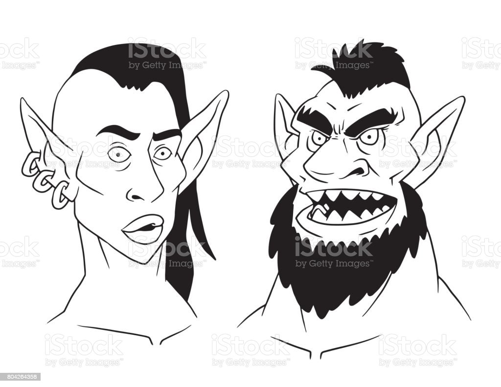 Goblin woman's and man's heads, line image vector art illustration
