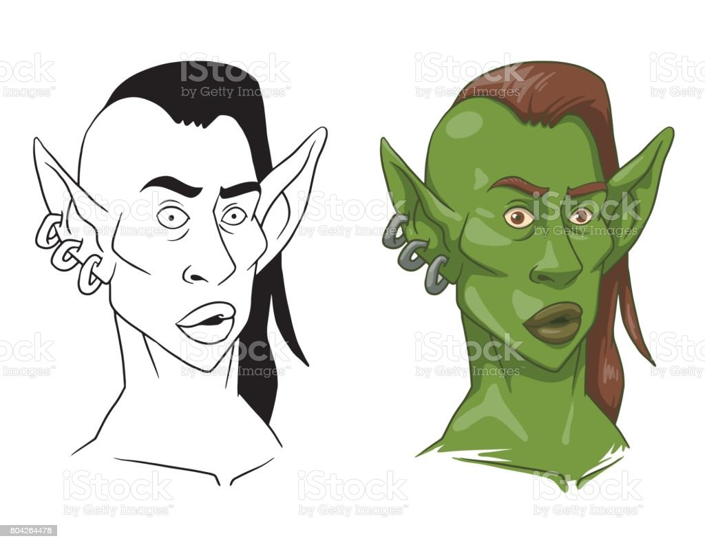 Goblin woman's head, line and color image vector art illustration