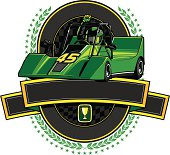 Go-Cart Champion Crest with Blank Banner