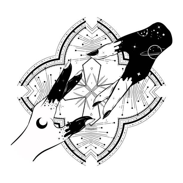 bildbanksillustrationer, clip art samt tecknat material och ikoner med gud och adam händer motiv. dubbel exponerings effekt. bohemisk illustration. - adam hand god