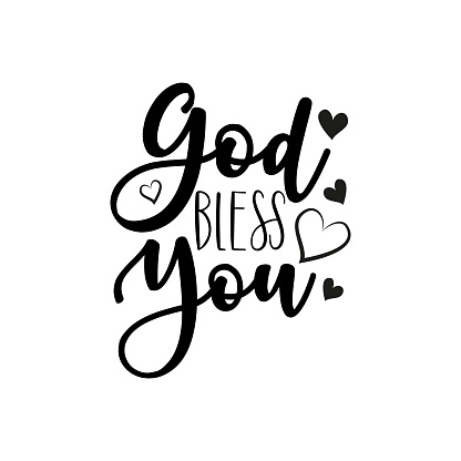 God bless you- calligraphy text, with heart.