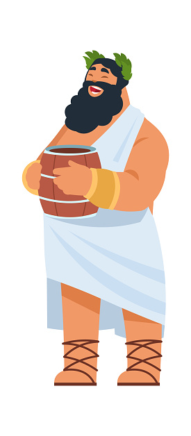 God Dionysus. Ancient Greek deity, divine patron of winemaking. Cartoon bearded fat man in toga holding wine barrel. Member of Olympic pantheon. Vector laughing religious character