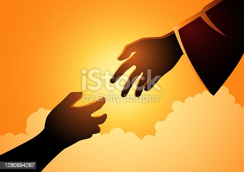 istock God hand reaching out for human hand 1280694267
