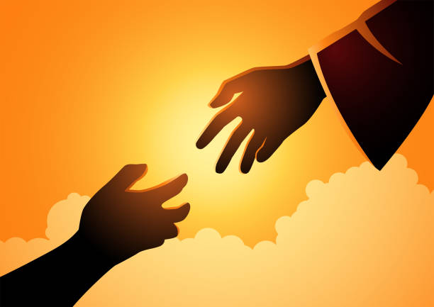 God hand reaching out for human hand Biblical vector illustration series of God hand reaching out for human hand. Hope, help, God mercy concept depend on god stock illustrations