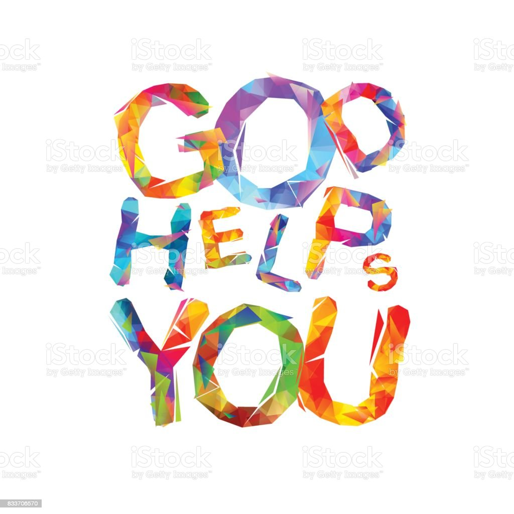 God helps you. Vector triangular letters vector art illustration