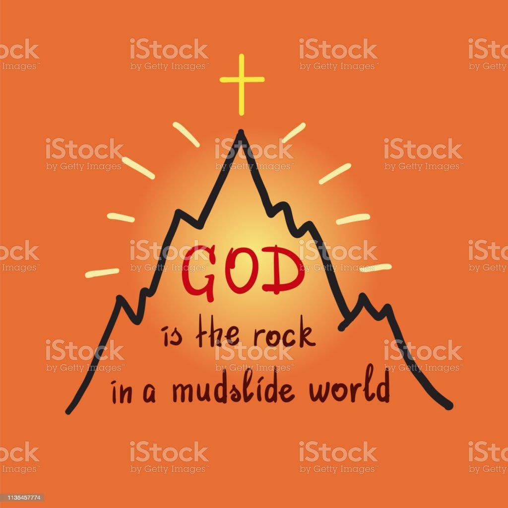 Vetores De Deus é A Rocha Em Um Mundo De Deslizamento De