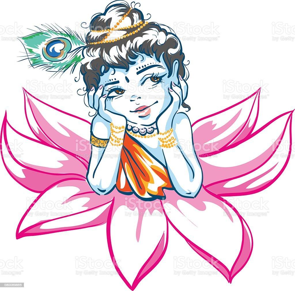 God Krishna in Lotus flower vector art illustration