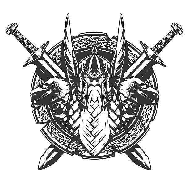 God Odin illustration tattoo style - Illustration vectorielle
