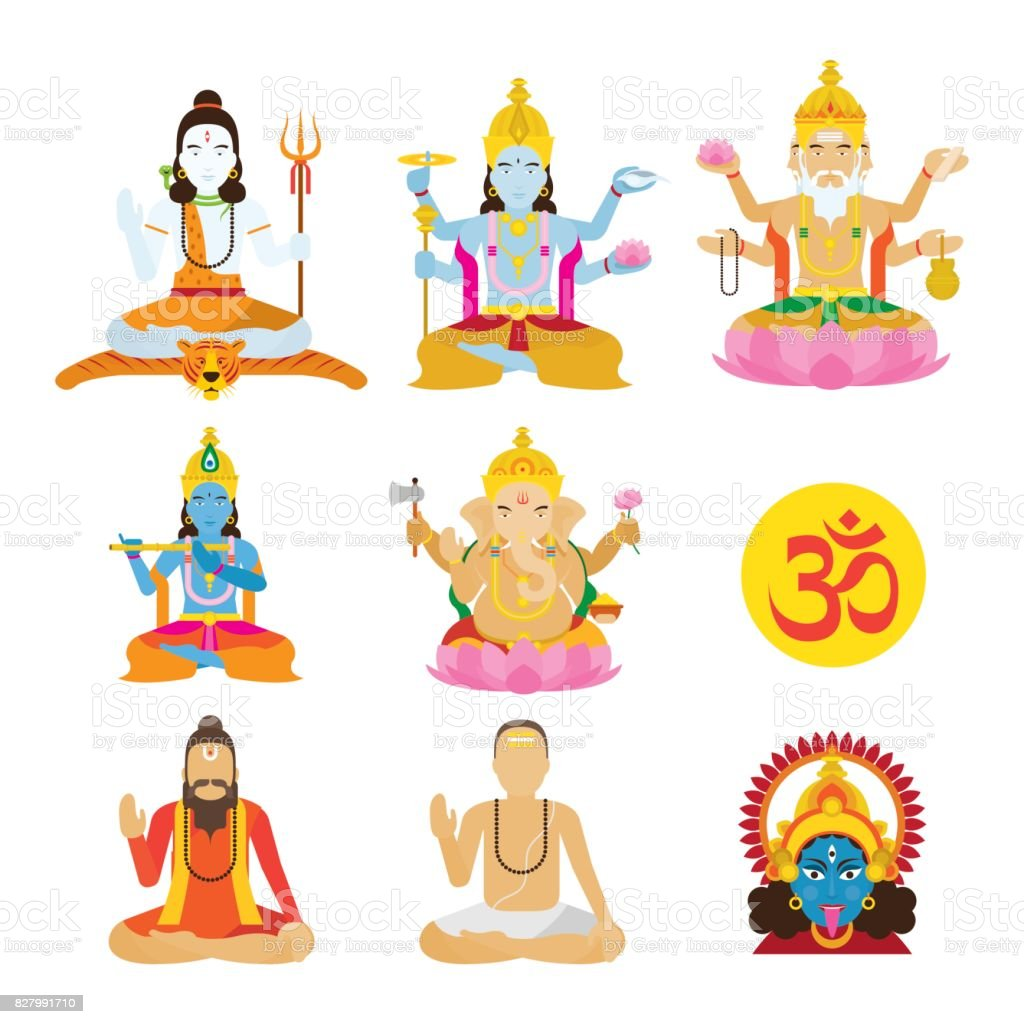 God of Hinduism and Priest Set vector art illustration