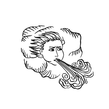God of wind medieval ages style engraved illustration illuminated manuscript ink art as man head in clouds blowing strong storm wind nature disaster concept vector isolated on white