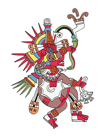 God Quetzalcoatl, the feathered serpent