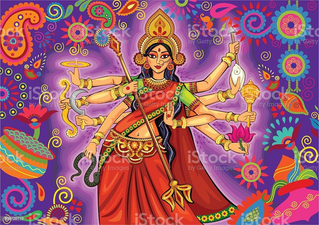 Goddess Durga in floral  Puja Dussehra background Vector design of Goddess Durga in floral Durga Puja Dussehra background Bengal Tiger stock vector