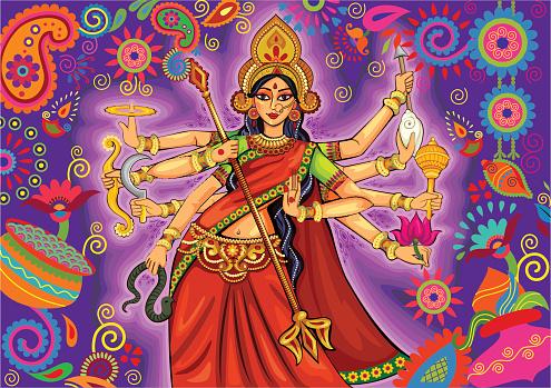 Goddess Durga In Floral Puja Dussehra Background Stock Illustration - Download Image Now