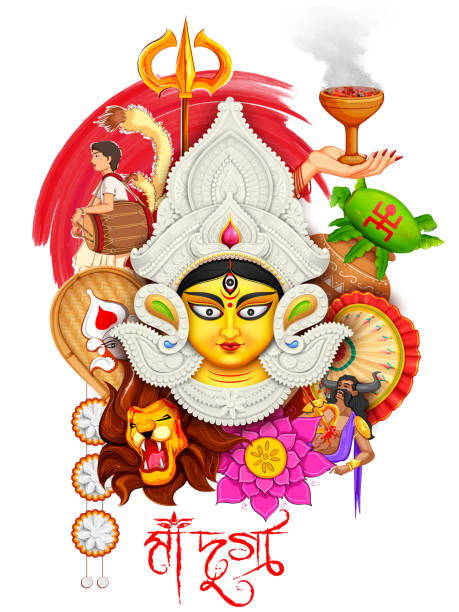 bildbanksillustrationer, clip art samt tecknat material och ikoner med goddess durga in subho bijoya happy dussehra background - india statue