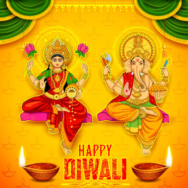 Goddess Lakshmi and Lord Ganesha on happy Diwali Holiday doodle illustration of Goddess Lakshmi and Lord Ganesha on happy Holiday doodle background for light festival of India with message Shubh Diwali meaning Happy Diwali god stock illustrations