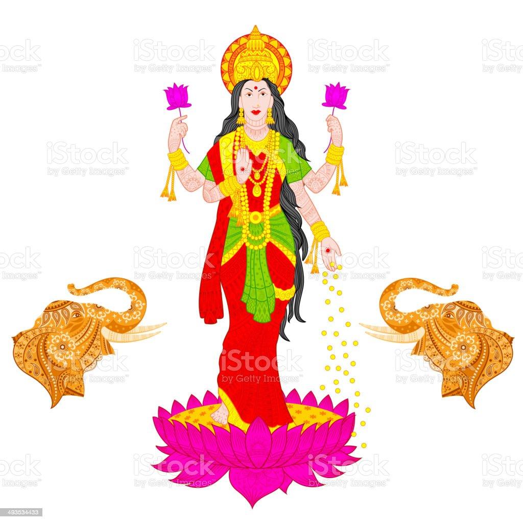 Goddess Lakshmi vector art illustration