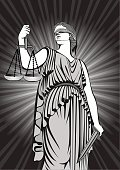 Goddess Themis.Equality .A fair trial.Law .lady justice