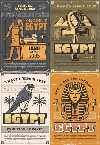 Gods of ancient Egypt, coptic cross, falcon bird
