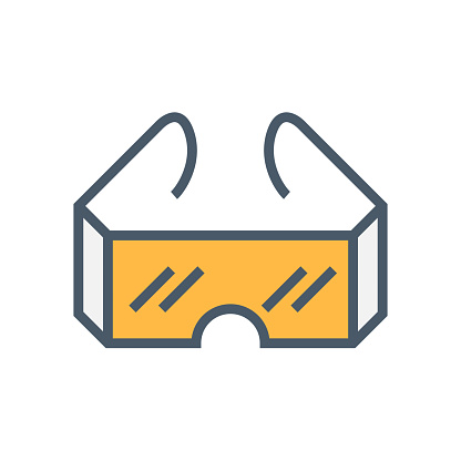 Goggle or safety equipment vector icon design.