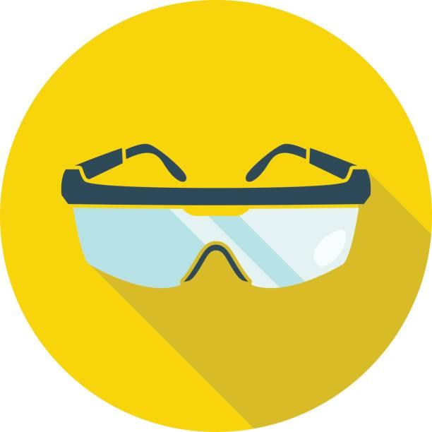 brille auf gelbem hintergrund mit einem schatten darunter isoliert. - schutzbrille stock-grafiken, -clipart, -cartoons und -symbole