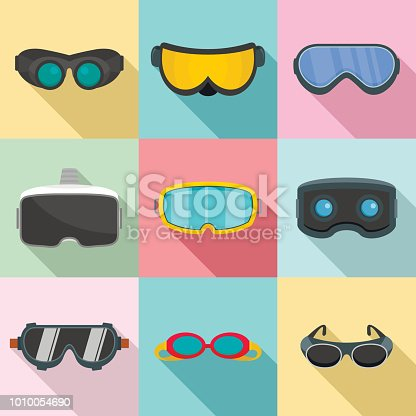Goggles ski glass mask icons set. Flat illustration of 9 goggles ski glass mask vector icons for web