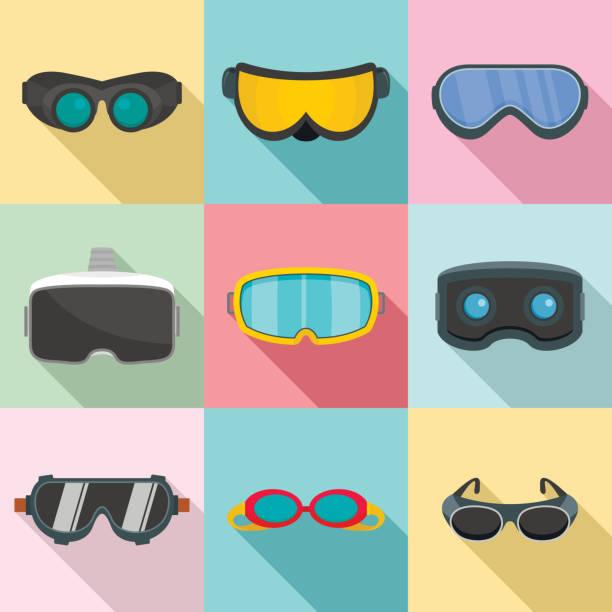 Goggles ski glass mask icons set, flat style Goggles ski glass mask icons set. Flat illustration of 9 goggles ski glass mask vector icons for web swimming goggles stock illustrations
