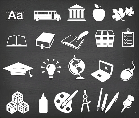 Going back to school and education vector icon set