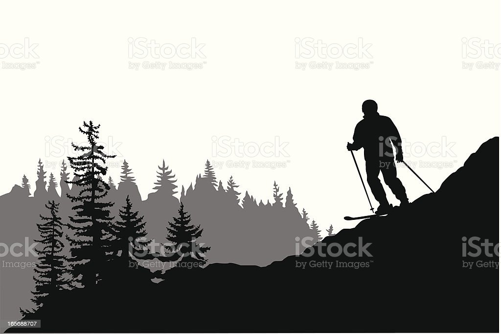 Going Downhill Vector Silhouette royalty-free stock vector art