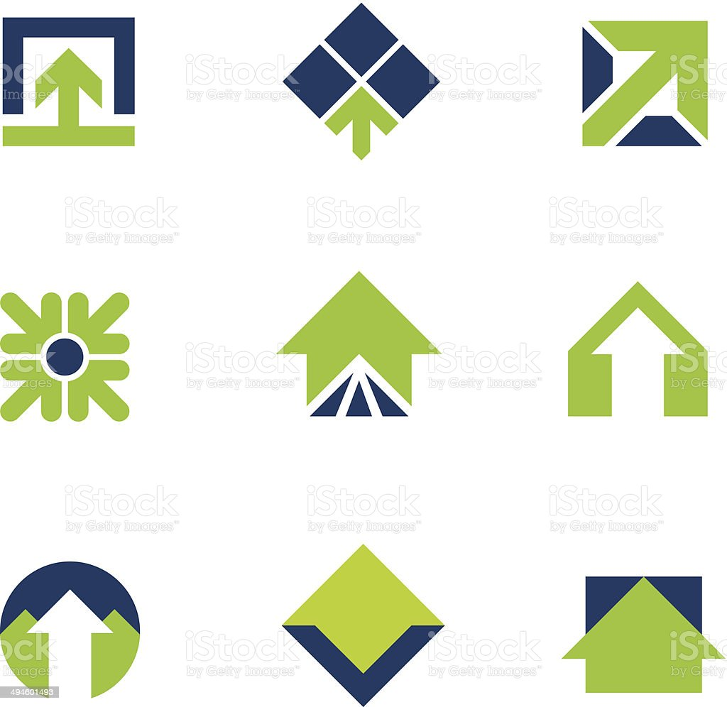 Going green for natural business success arrow up logo icon vector art illustration