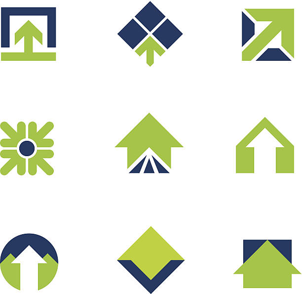 stockillustraties, clipart, cartoons en iconen met going green for natural business success arrow up logo icon - onderweg