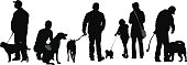 A vector silhouette illustration of people with their dogs.