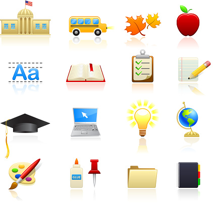 Going school and education royalty free vector icon set